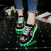 YPYUNA White Glowing sneakers 11 colors kids unisex Usb Charged Flash of light up   shoes   boy Melbourne Shuffle Luminous sneakers