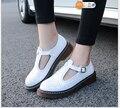 Плюс Размер 34-43 2017 Новый дизайнер старинные плоские туфли весна осень круглый носок ручной работы красный черный белый оксфорд обувь для женщины