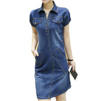 Casual 2016 Denim Dress Plus Size XXXL Women Jeans Dress Vintage Office Dresses Elegant ZMF748952