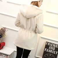Free shipping autumn and winter long slim coat with a hood