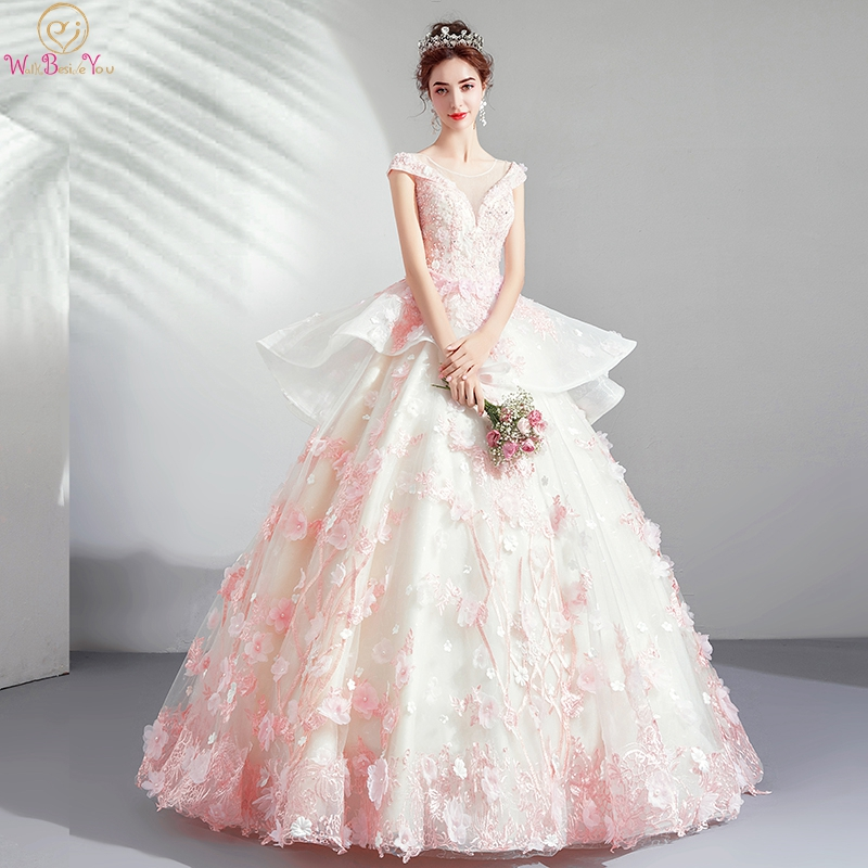 Gala   Prom     Dresses   2019 Pink Ivory Long Graduation Lace Applique Flower Beads Crystal Ball Gown Cap Sleeve Tiered Walk Beside You