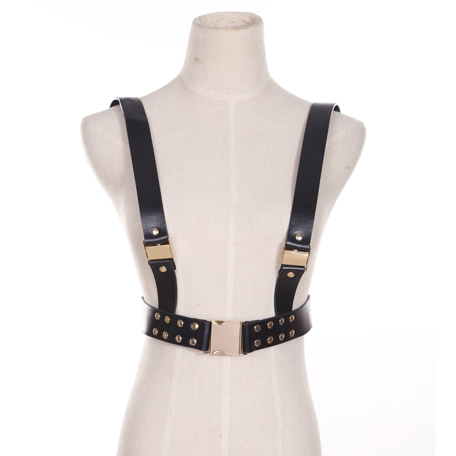 Harness belt, trend catwalk strap suspenders small fragrant wind black and white letters retro strap limited edition