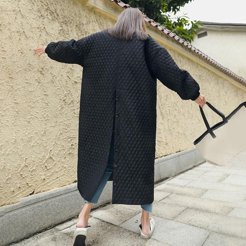 LANMREM New Fashion Black Oversize Lapel Back Vent Button Winter Jacket 18 Female's Long Cotton Coat Jaqueta Feminina WTH11 8
