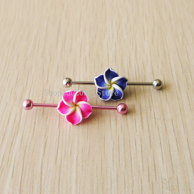 2pcs New Pink And Blue Industrial Barbell 14g 1 6mm Stainless Steel Industrial Piercing Jewelry Body Jewelry Aliexpress