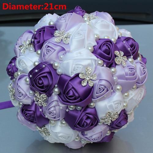 New Arrival Purple Silk Rose Brooch Wedding Bouquets Pearls