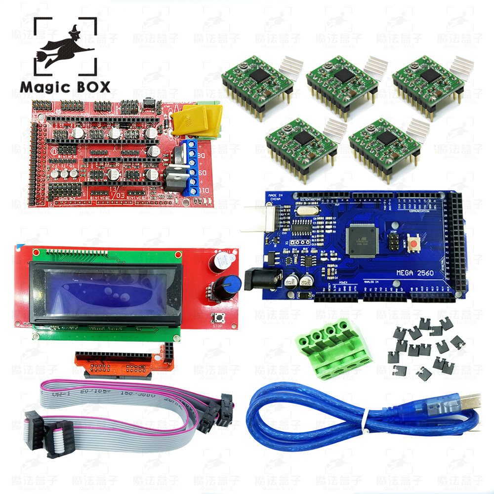 Mega 2560 R3 + 1pcs RAMPS 1.4 Controller + 5pcs A4988 Stepper Driver Module +1pcs 2004 controller for 3D Printer parts, цена и фото