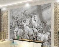 Beibehang 3D Wallpaper 3d Stereo Relief Horse TV Backdrop Living Room Bedroom Mural Decorative House Mural