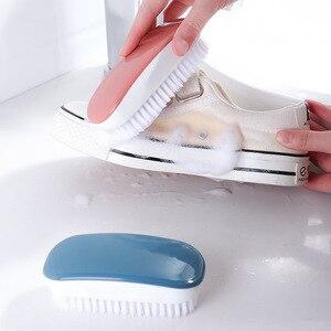 Image 3 - FOURETAW 1 sztuka niebieski różowy użytku domowego typu miękkie futro szczotka do czyszczenia butów wygodna szklana podłoga grill toaleta ubrania szczotka do czyszczenia