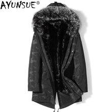 AYUNSUE, зимняя куртка, натуральный Лисий мех, воротник, пальто с капюшоном, норковая меховая подкладка, куртки, парка, Veste Homme Hiver, Канада, стиль, P-N2316, ZL862