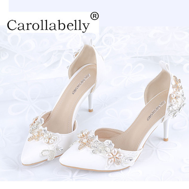 2018 New Woman Rhinestones High Heels Crystal Pearl Sandals Cover Heel  Pointed Toe Stiletto Heals Wedding Shoes Big Sizes 33-41