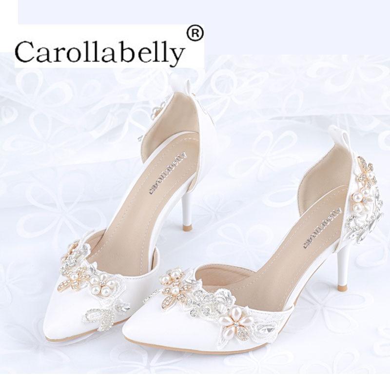 3c273ee1882a3 De Talons Hauts Talon Bout Nouvelle Chaussures Cristal Pointu Guérit 41  Stiletto Femme Strass Perle Grandes White ...