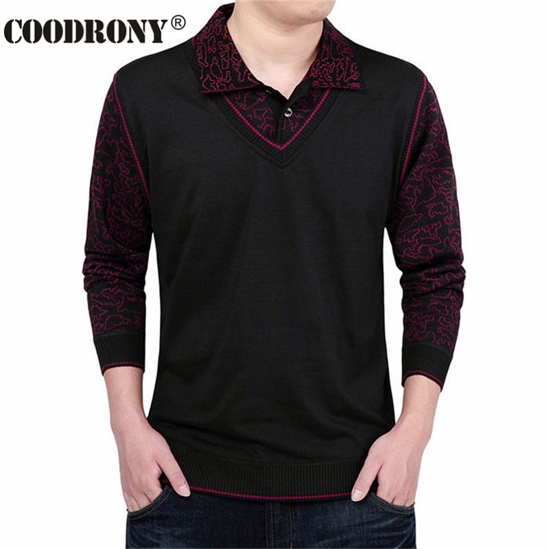 Fashion false two sweater men clothing wool mens sweaters for Mens red wool shirt