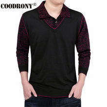 Fashion False Two Sweater Men Clothing Wool Mens Sweaters Long Sleeve Shirt Pullover Men Slim Fit Dress Casual Pull Homme S- 4XL