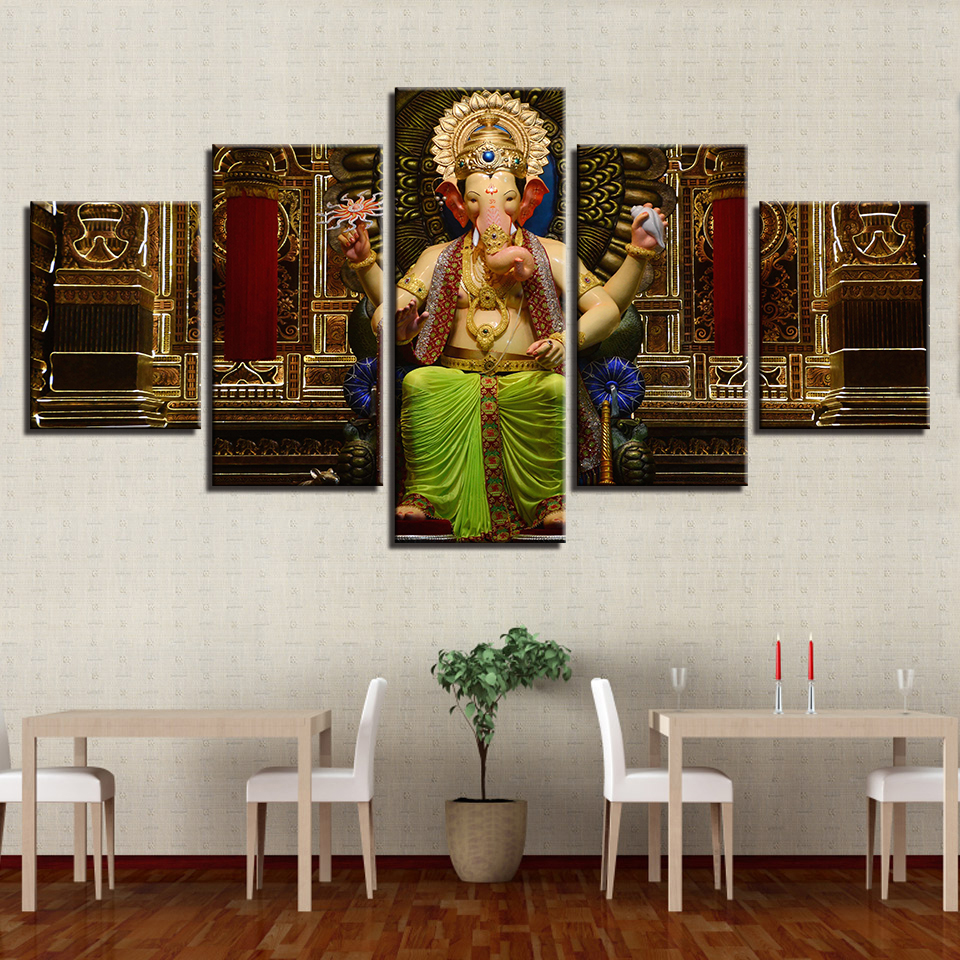 Large Poster HD Printed Painting Canvas Home Decoration 5 Panels Lord Ganeshas Wall Art Modular Pictures For Living Room