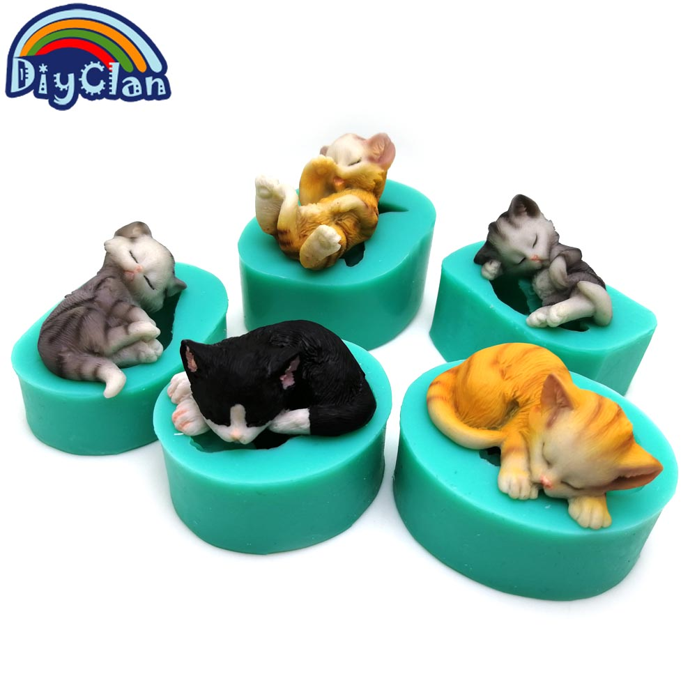 3D Kittens Silicone Fondant Cake Molds Lovely Cat Chocolate Sugarcraft Mould For Cupcake Decorating Animal Baking Tools Kitchen