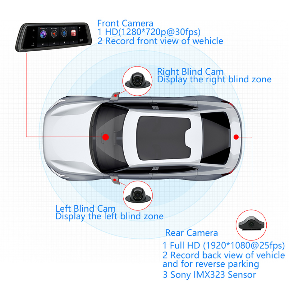 US $269 96 25% OFF|Junsun 2019 Octa core 4G 4 Channel ADAS Android Car DVR  Dashcam 10