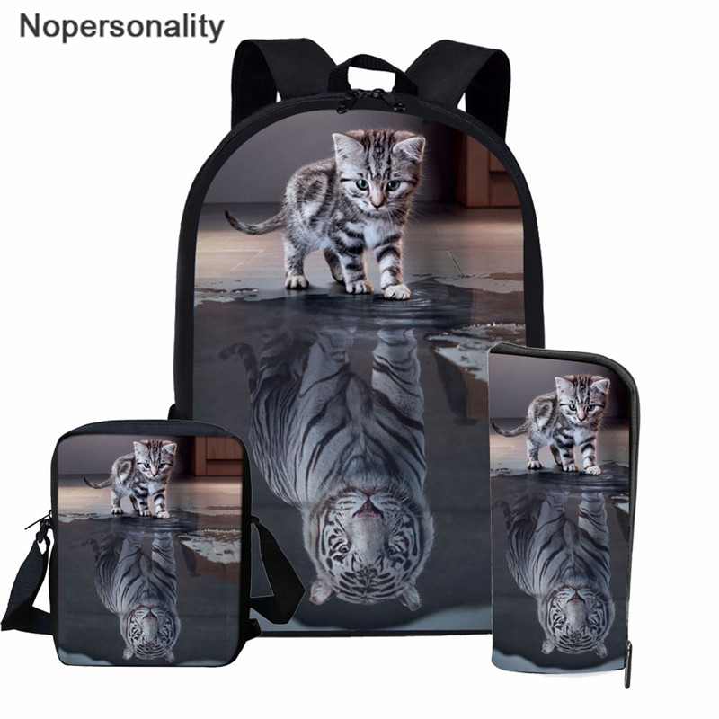 Nopersonality 3PCS/SET Cat Reflection Tiger Print School Backpack Set For Teenager Girls Boys Cool High School Children Kids Bag