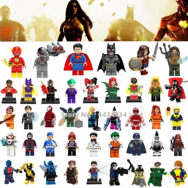 Super Heroes Justice League Figures Toys Superman Wonder Woman Flash Green Lantern Batman Legoings Super Heroes Blocks Toys Kids