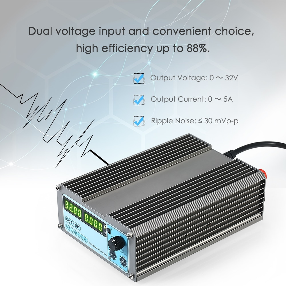 Portable Switching power supply Adjustable Regulated laboratory Power Supply 4 Digits LED CPS-3205 II 160W 0-32V/0-5APortable Switching power supply Adjustable Regulated laboratory Power Supply 4 Digits LED CPS-3205 II 160W 0-32V/0-5A