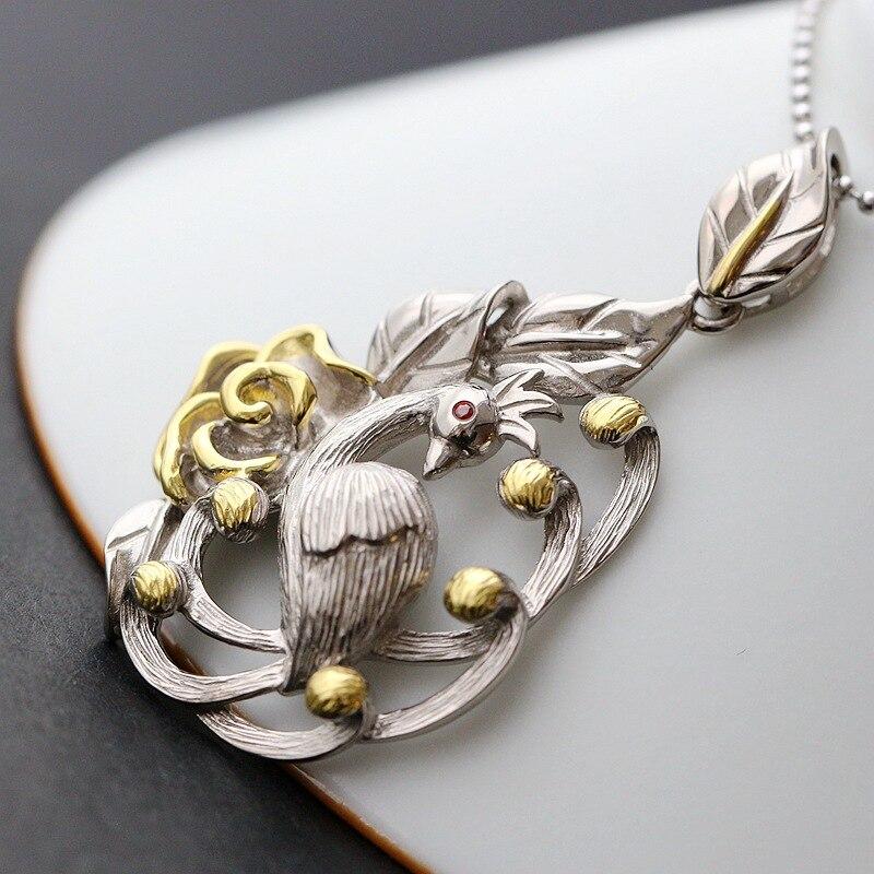 Ge bijoux en gros à la main en argent paon pendentif en argent rétro mode dame 925 pendentif en argent Sterling