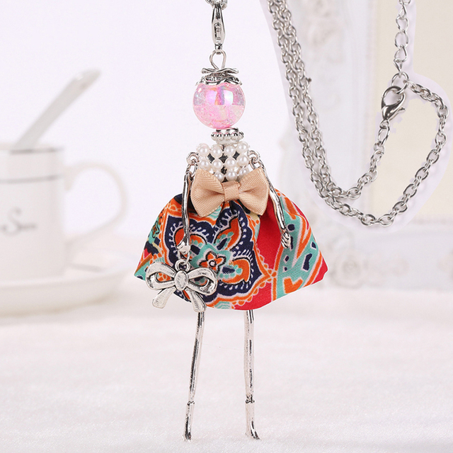 Lovely Doll Long Chain Necklaces Pendants