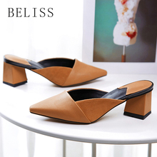 BELISS sandals slippers pointed toe half female mules loafers shoes square heel fahion summer women outside S24