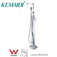 CUPC And Wels Floor Standing Faucet Bathroom Square Floor Deck Mounted Bathtub Faucet Freestanding Floor Bath