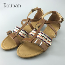 Doupan 2017 New Women Summer Flat Sandals Stripe Cloth Casual Flat Elegant Gladiator Ankle Strap Cover