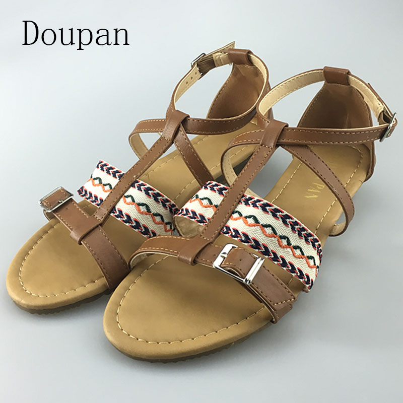 Doupan 2017 New font b Women b font Summer Flat Sandals Stripe Cloth Casual Flat Elegant