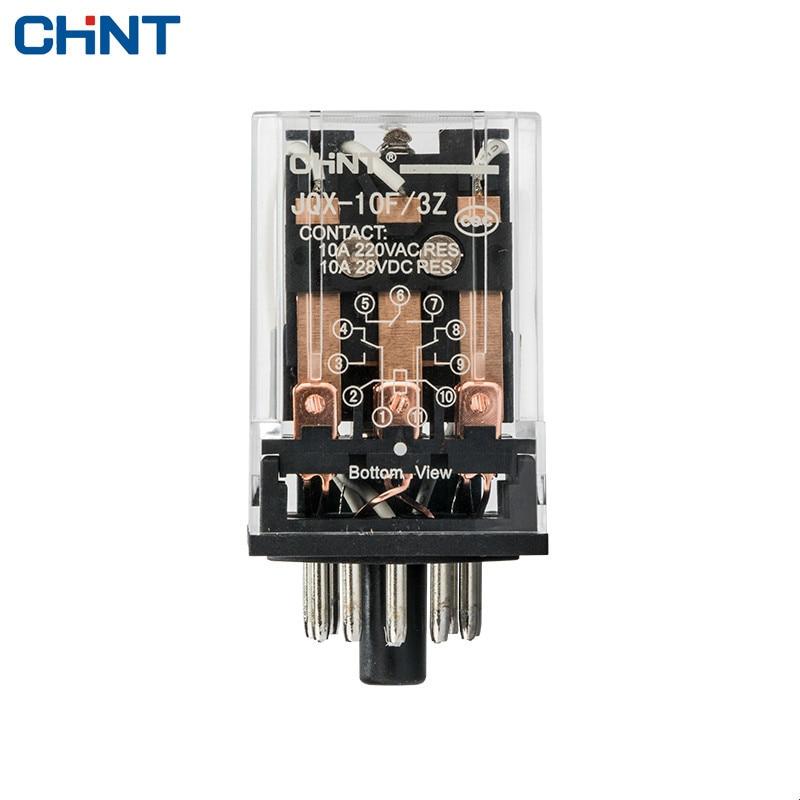 CHINT Small Intermediate Relay Electromagnetic Relay JQX-10F 3Z 220VAC,110VAC,24VDC,12VDC intermediate relay jqx 38f 3z 40a power relay electromagnetic relay 11pin dc12v dc24v ac110v ac220v