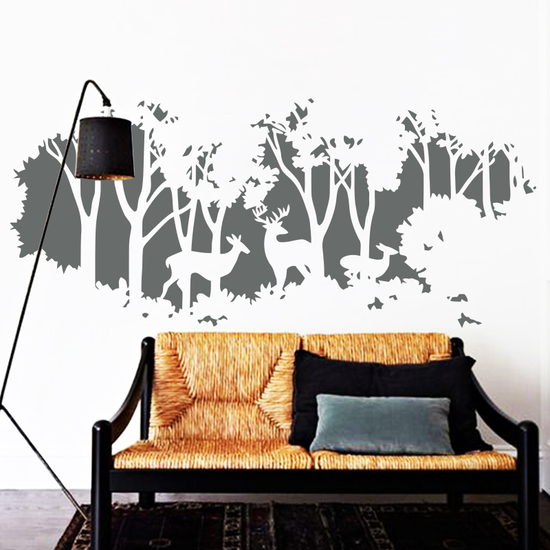 2016 art new design home decoration vinyl deers in forest for Decoration porte sticker