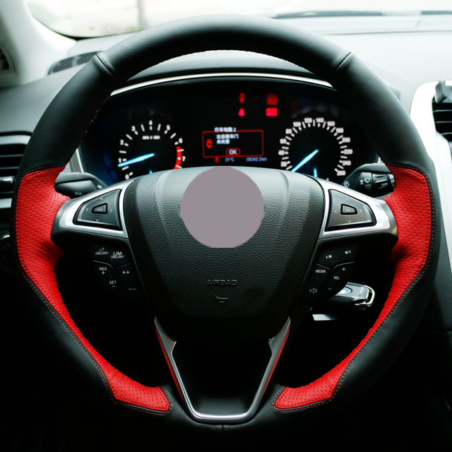 Black Leather Red Car Steering Wheel Cover For Ford Fusion Mondeo 2017 Edge 2016