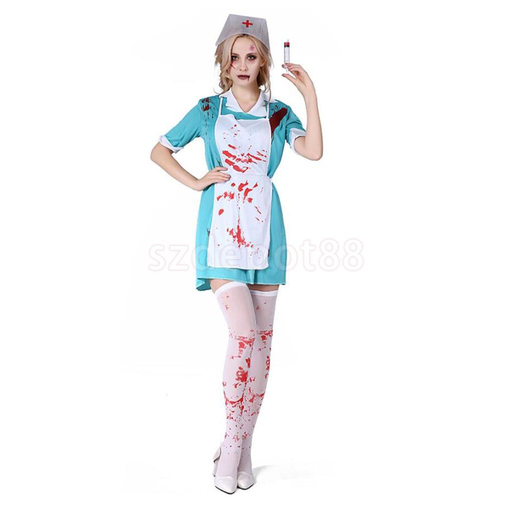 Dokter Kostuum Us 16 58 21 Off Horror Zombie Halloween Bloody Nurse Costume Ladies Party Dress Hat Cap Stockings Fancy Dress Set In Holidays Costumes From Novelty