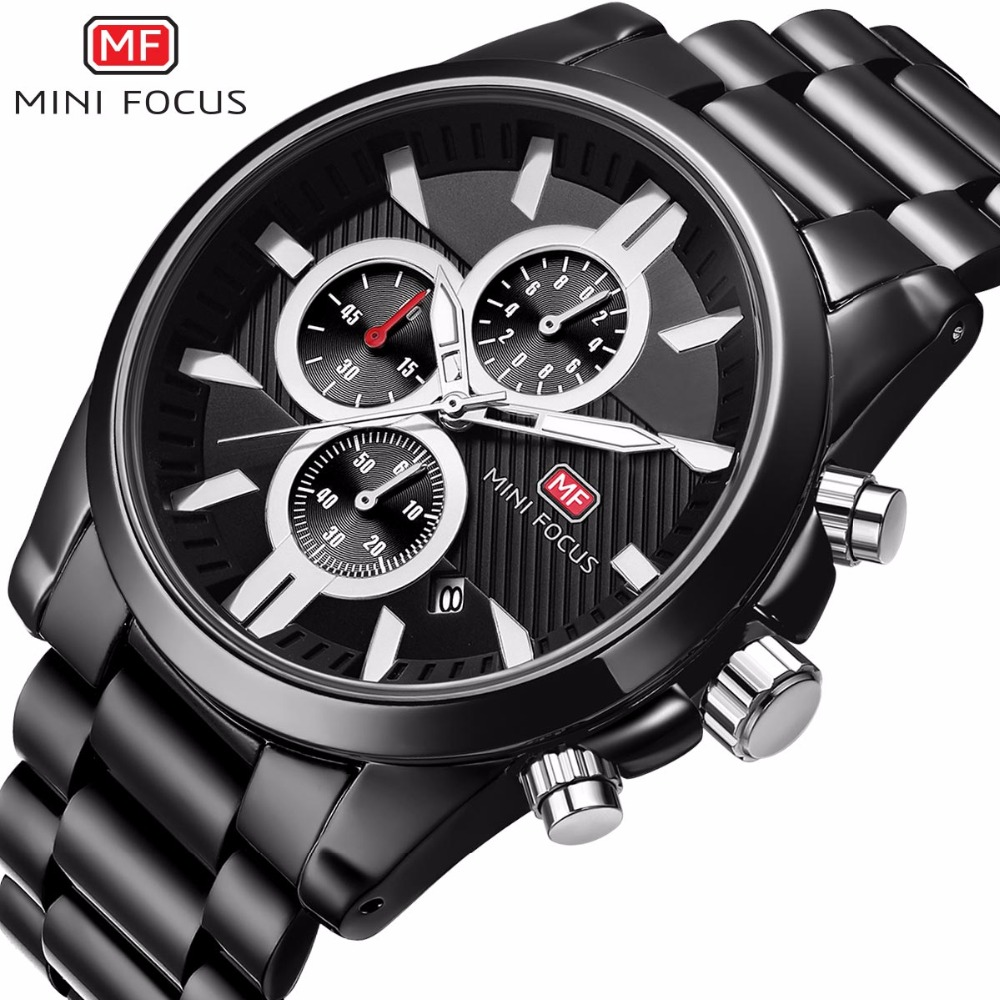 Men's Watches Top Brand Luxury Stainless Full Steel Chronograph Men Quartz Sports Wrist Watch Male MINI FOCUS Black Analog Clock mini focus top brand men stainless steel quartz watch luxury chronograph wristwatch calendar men sports watches male blue clock