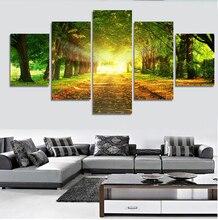 5 PC 나무 햇빛 벽 예술 그림 홈 장식 거실 또는 침실 캔버스 인쇄 그림 벽 그림 모듈 그림