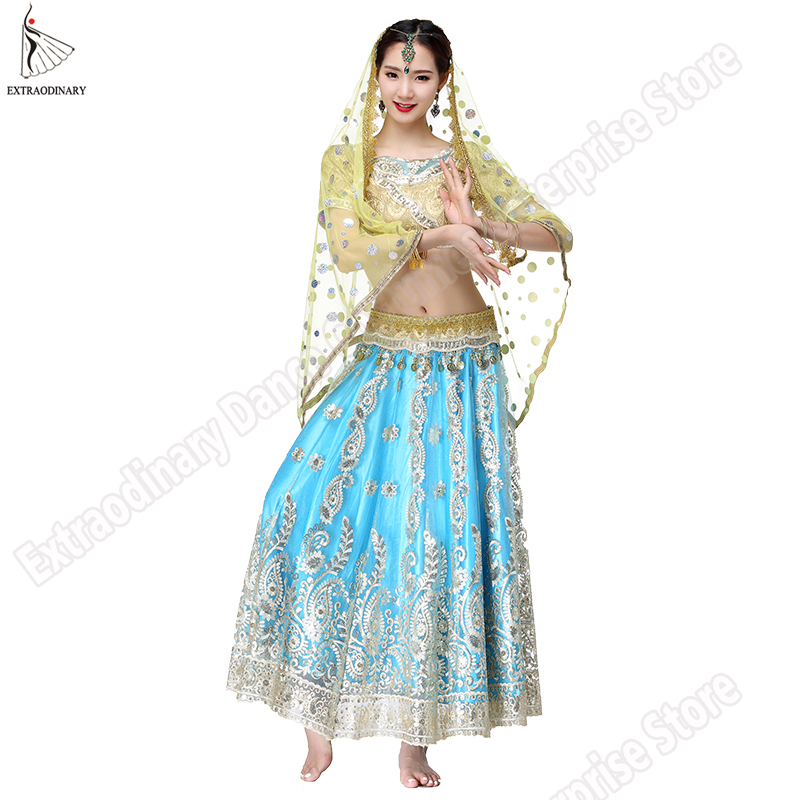New Bollywood Belly Dance Costume Indian Dresses For Women Dancing Suit Tops Performance Veils 4pcs Set