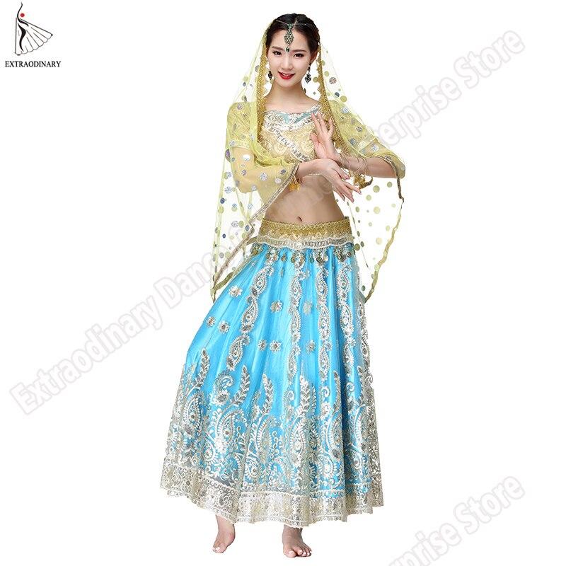 Nouveau Bollywood Danse Du Ventre Costume Indien Robes Pour Femmes Danse Costume Tops Performance Voiles 4 pcs Set Top Ceinture Jupe sari