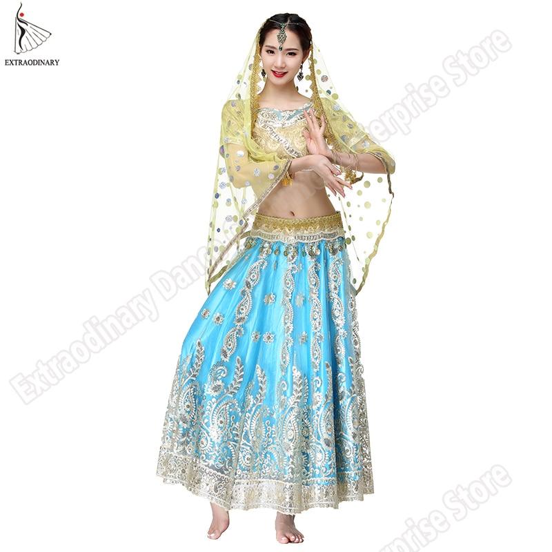 Nouveau Bollywood danse du ventre Costume robes indiennes pour femmes danse Costume hauts Performance voiles 4 pièces Set Top ceinture jupe Sari