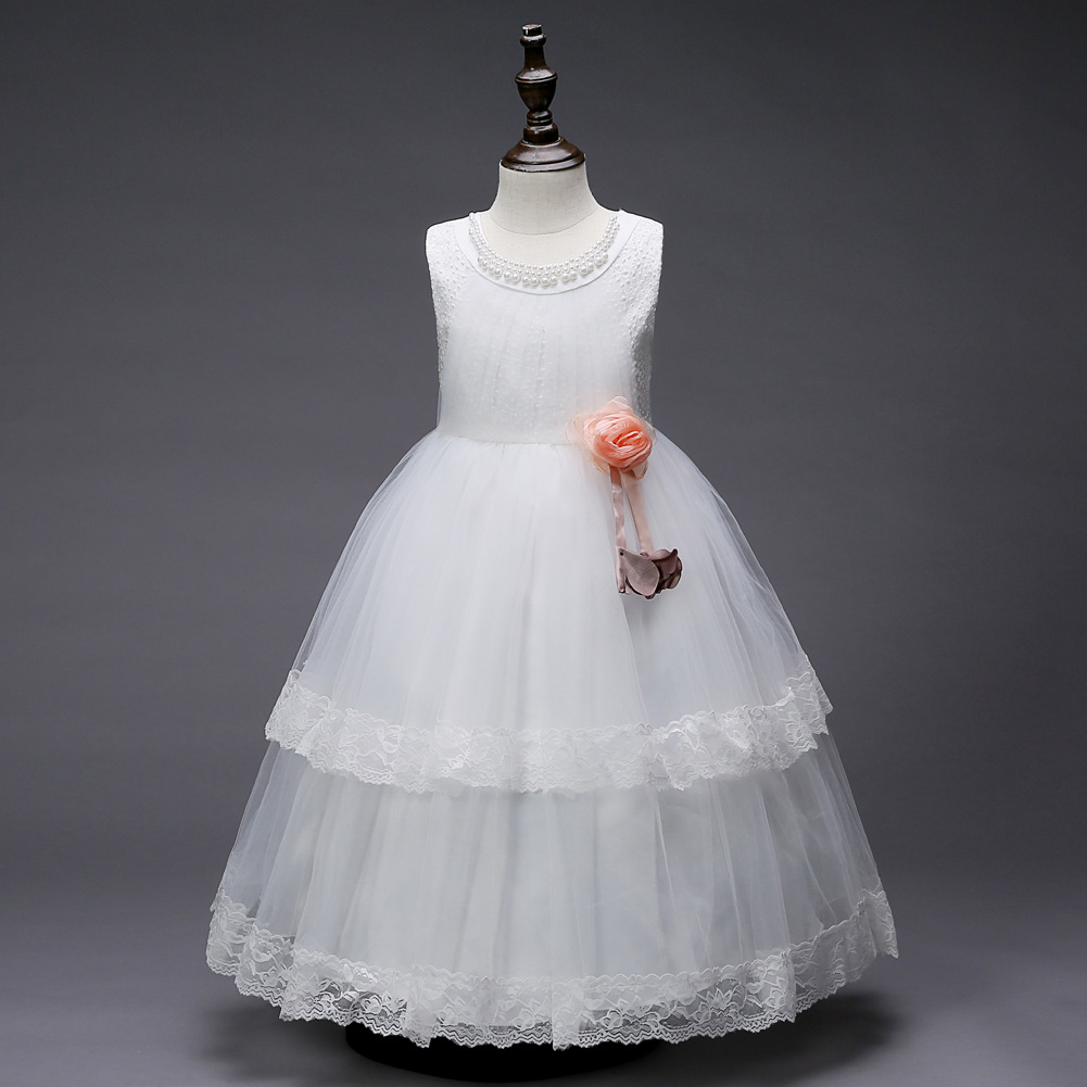 55012bdac5 Tea Length Flower Girl Dresses White Red Mint Green Lavender Pink Girls  Party Dress Kids Elegant Evening Ball Gown