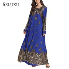 Seluxu 2019 Fashion Autumn Women Dress Floral Print Long Sleeve Round Neck Robe Plus Size Muslim Casual