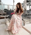 Women's Fashion Bohemian dress Slim waist Small Floral Dress