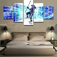 Arte Da Parede da lona Pictures Home Decor Modular Quadro Decoração de Um Conjunto de 5 Peças Pinturas Imprime HD Hóquei No Gelo Esporte Cartazes