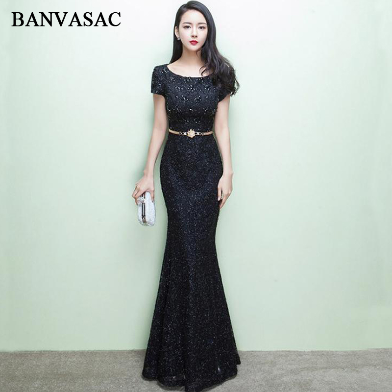 BANVASAC 2018 Crystal O Neck Lace Appliques Mermaid Long   Evening     Dresses   Party Metal Sash Short Cap Sleeve Prom Gowns