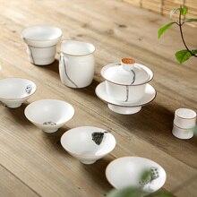 White Porcelain Chinese Kung Fu Tea Set Handpainted Ceramic Gaiwan Hand Made Cup Chinaware Teapot