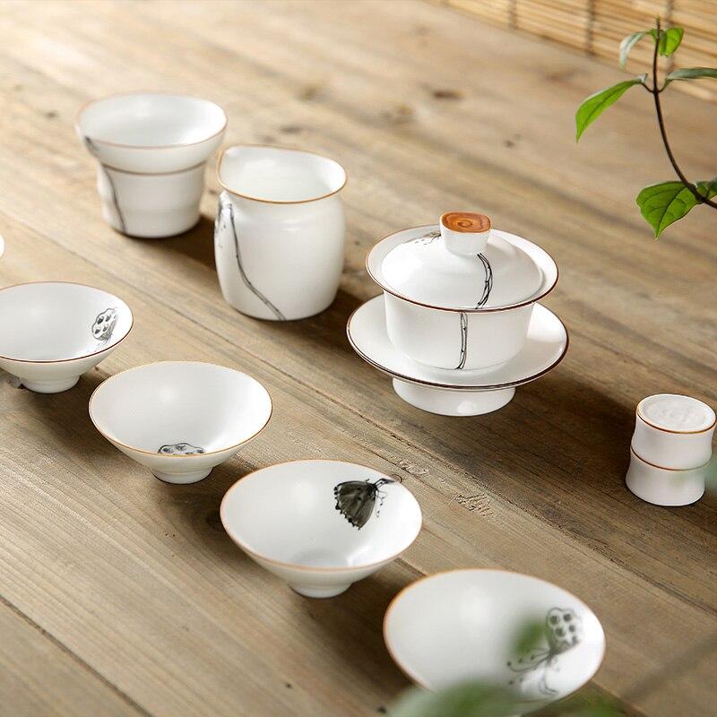 PINNY ensemble de thé chinois en porcelaine blanche Kung Fu peint à la main en céramique Gaiwan fait à la main tasse de thé chinois théière en porcelaine chinoise