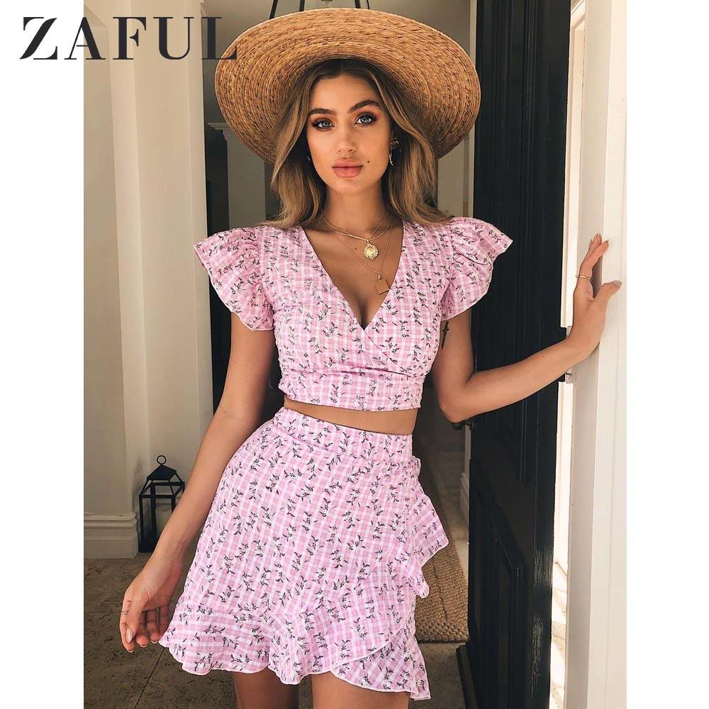 ZAFUL Women Sets Dandelion Crop Wrap Top And Skirt Set Sweet Two Piece Set Pink Streetwear Polka Dot Chic Vintage Girl's Sets