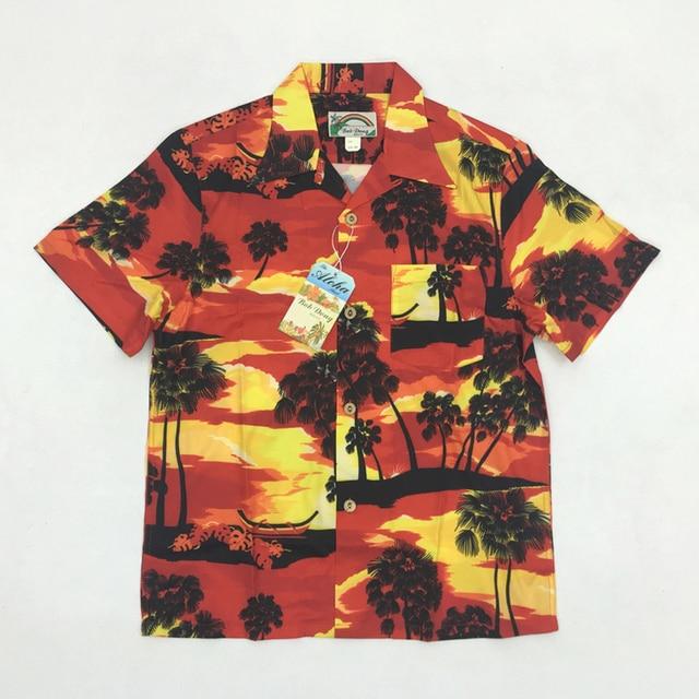 0e1d9ca7f96 BOB DONG Mens Sunset Aloha Hawaii Shirts Summer Short Sleeve Hawaiian Shirt  Men Print Vintage Clothing