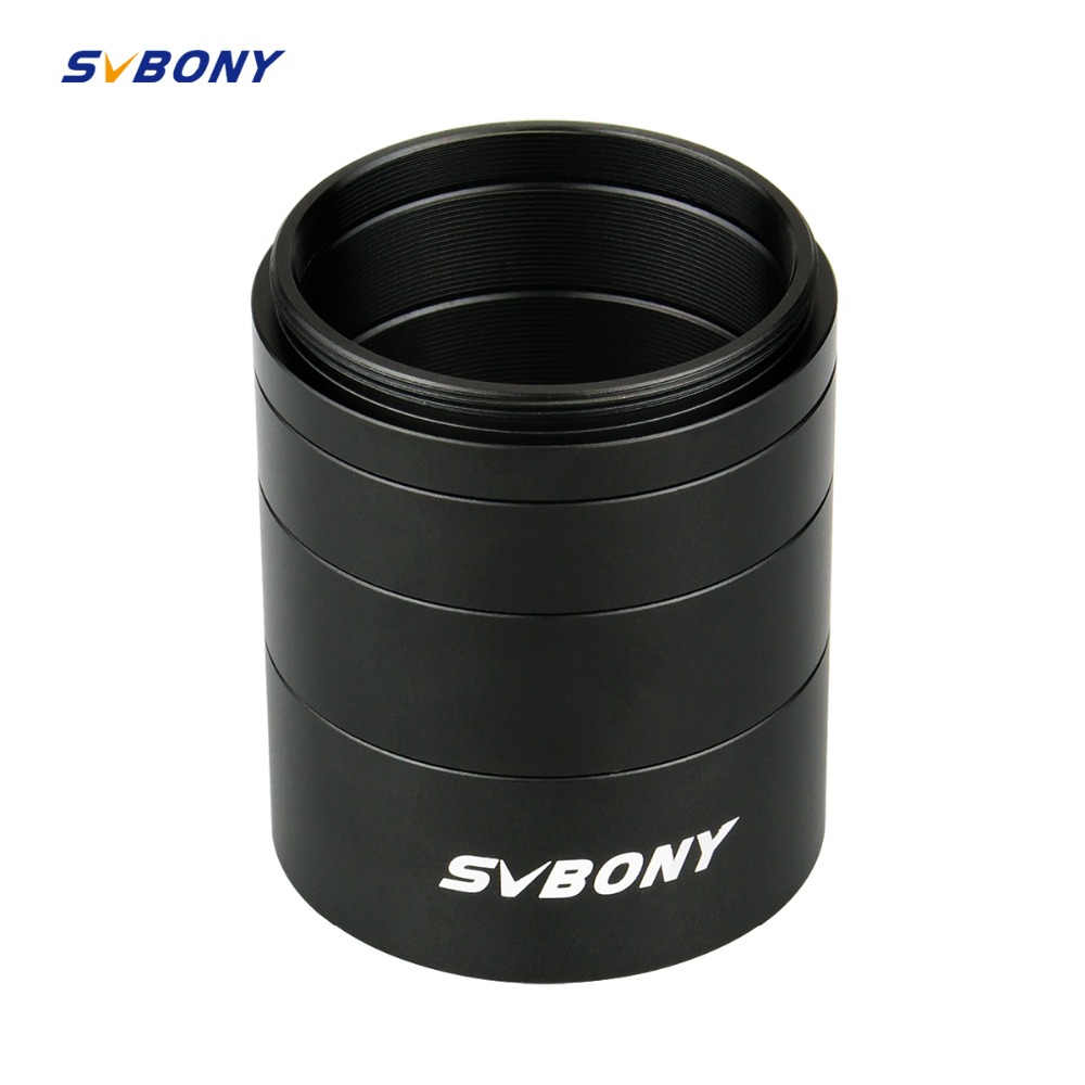 SVBONY T2 Extension Tube Kit 5mm 10mm 15mm 20mm M42x0 75 for Astronomy Monocular Telescope for Camera on Both Sides Length Black