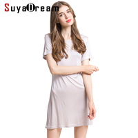 Women Full Slips 100%REAL SILK short sleeve slip Solid nude white black Anti emptied dress new underwear Comfortable 2017 New