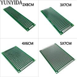 13-01 Бесплатная доставка, 4 шт., 5x7, 4x6, 3x7, 2x8 см, двухсторонний медный Прототип pcb, универсальная плата